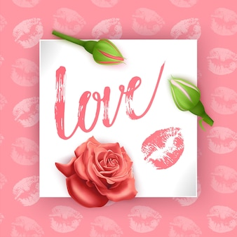Card with the inscription love on valentine's day. hand lettering card with rose buds,   illustration