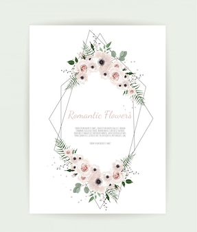 Card with leaves and geometrical frame