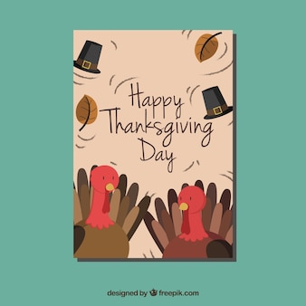 Card with nice thanksgiving turkeys