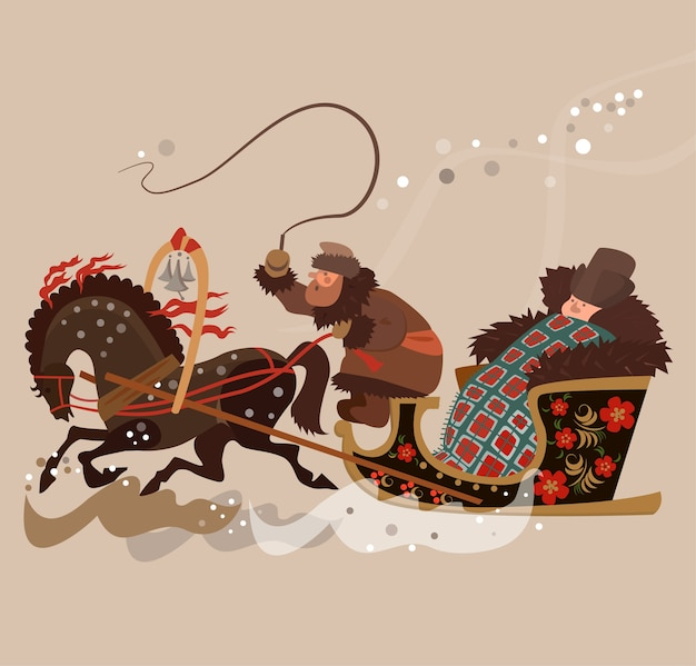 Card with old russian sleigh with passenger in winter time.