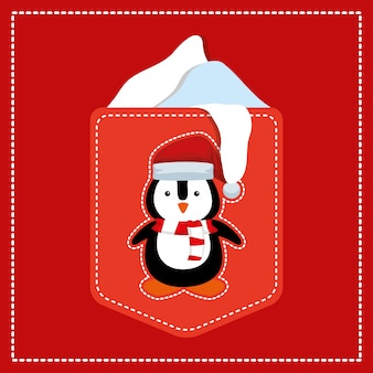 Card with penguin character