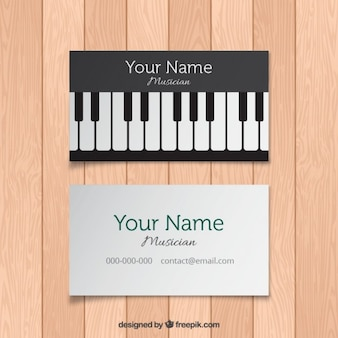 Card with piano keys