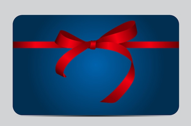 Card with red gift ribbon. illustration