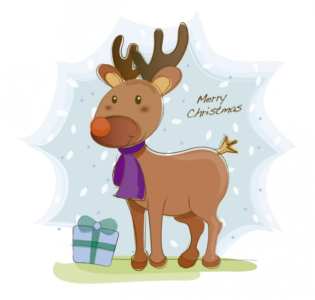 Card with reindeer illustration