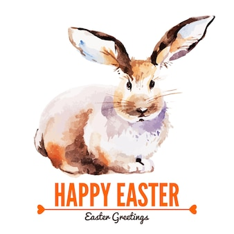 Card with sketch easter rabbit. hand drawn watercolor illustration