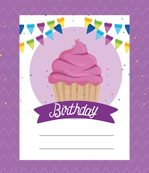 Card with sweet muffin and ribbon decoration