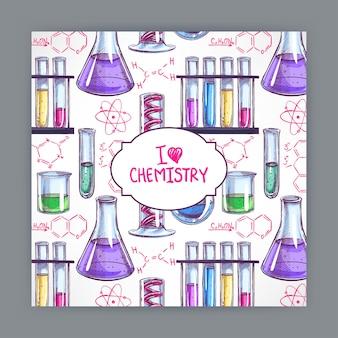Карточка с химическими формулами и колбы. рисованная иллюстрация
