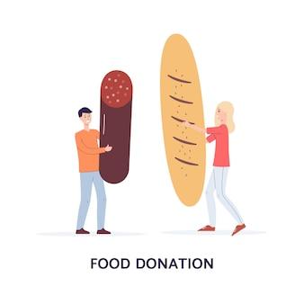 기부와 캡션을 위해 음식을 들고있는 자원 봉사자의 작은 캐릭터가있는 카드. 노숙자, 굶주림 및 가난한 사람들을위한 사회적 지원 및 자선 활동.