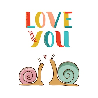 恋に2つのカタツムリが付いているカード。ベクトルイラスト
