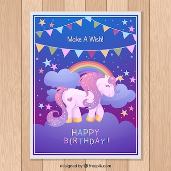 Card with unicorn and garland