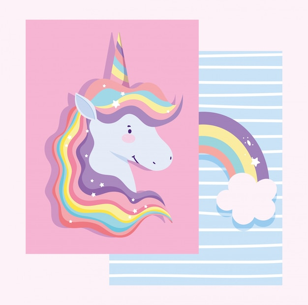 Card with unicorn with rainbow hair and rainbow with clouds