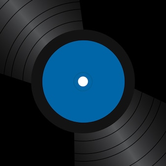 Card with vinyl records and place for text