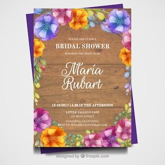 Карточка с акварельными цветами холостяцкой