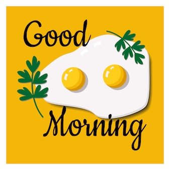 Card with a wish good morning with scrambled eggs