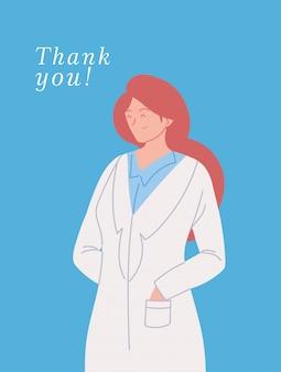 유니폼과 감사 텍스트와 여자 의사와 카드