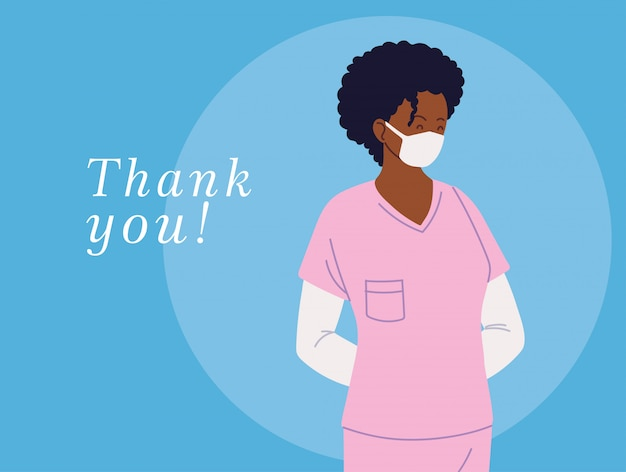 균일 한 마스크와 감사 텍스트와 여자 의사와 카드