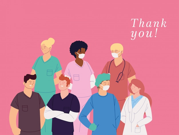 유니폼과 여성과 남성 의사 카드와 감사합니다 텍스트