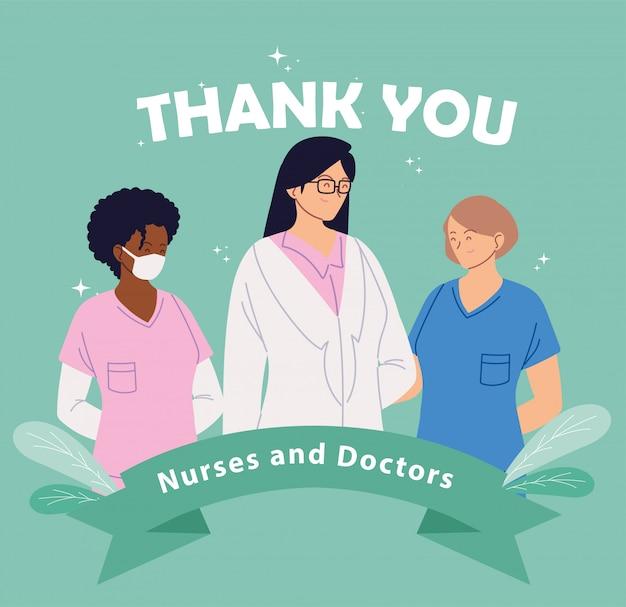 유니폼과 여성 의사와 카드 감사 텍스트