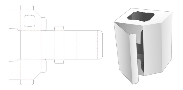 Cardboard angle box with side window die cut template