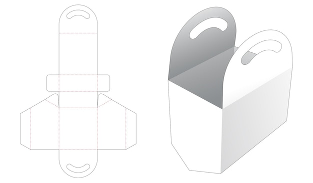 Cardboard bag with chamfered bottom die cut template