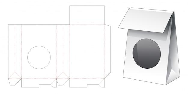 Cardboard bag with circle window die cut template