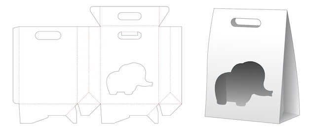 Cardboard bag with flip and elephant shaped window die cut template