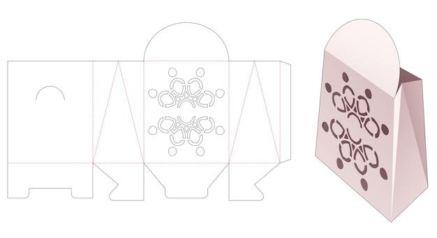 Cardboard bag with mandala stencil die cut template