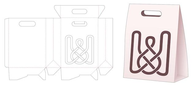 Картонный пакет с шаблоном для высечки со стекальной линией