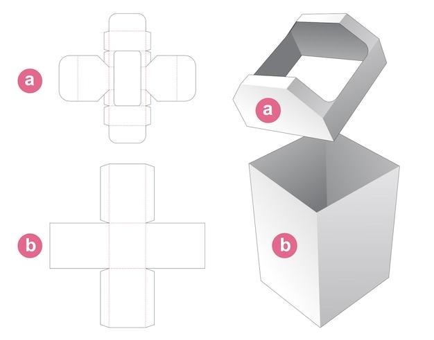 Cardboard bin box die cut template