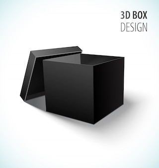 Cardboard black box icon with open lid