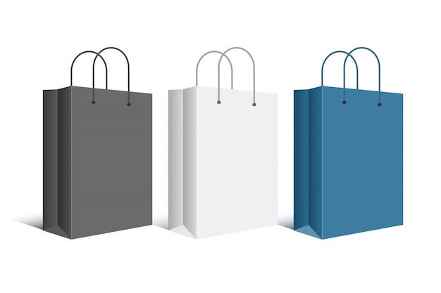 段ボールの空白のショッピングバッグ。