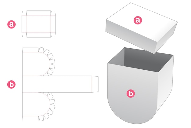 ふたダイカットテンプレートが付いているボール紙の底の丸い箱