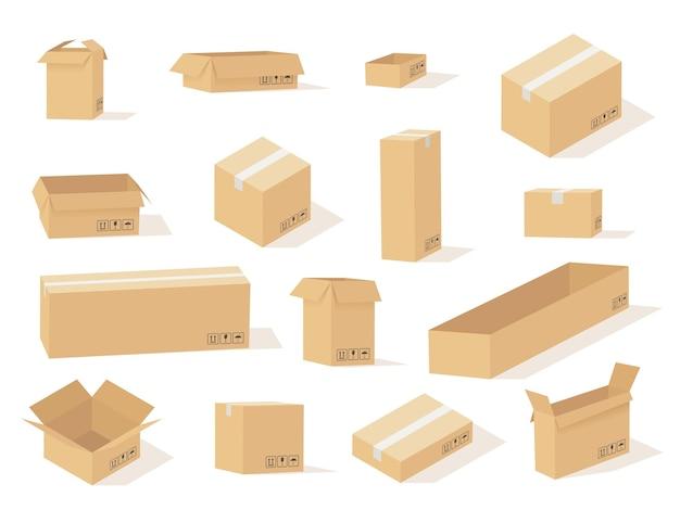 Картонная коробка. открытые и закрытые коробки разного размера, вид спереди и под разными углами, квадратная и прямоугольная картонная упаковка, векторный набор доставки груза