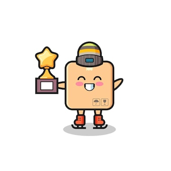Cardboard box cartoon as an ice skating player hold winner trophy , cute style design for t shirt, sticker, logo element