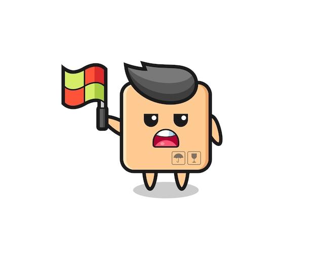旗を立てるラインジャッジとしての段ボール箱のキャラクター、tシャツ、ステッカー、ロゴ要素のかわいいスタイルのデザイン