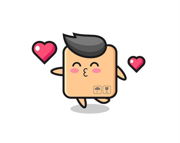 키스 제스처가 있는 판지 상자 캐릭터 만화, 티셔츠, 스티커, 로고 요소를 위한 귀여운 스타일 디자인