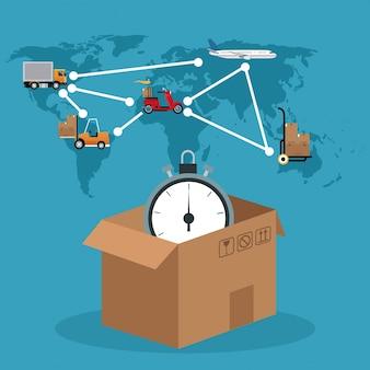 段ボール箱のクロック接続のグローバル配送コンセプト