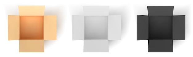 Картонная коробка: цветная, черная, белая. пустые открытые коробки, изолированные на белом фоне. векторная иллюстрация.