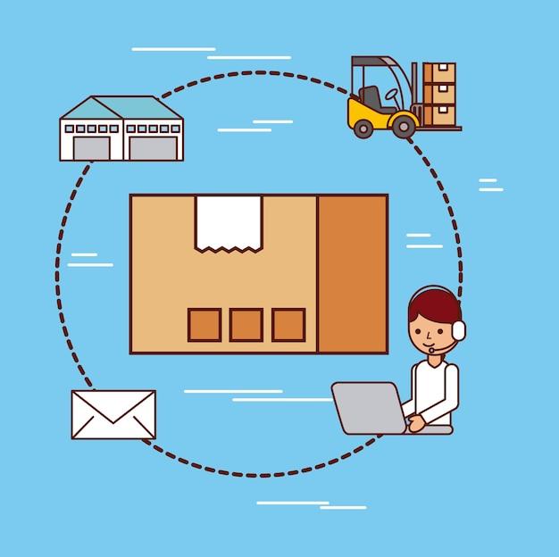段ボール箱配送ロジスティックメール倉庫とフォークリフト
