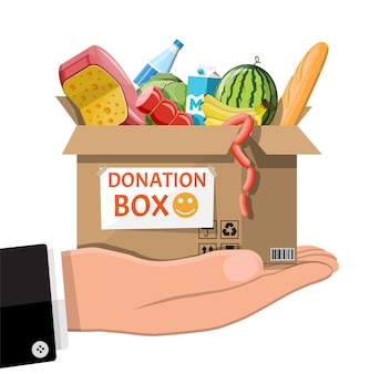 Cardboard box full of food in hand. needed items for donation. water, bread, meat, milk, fruits and vegetables products.