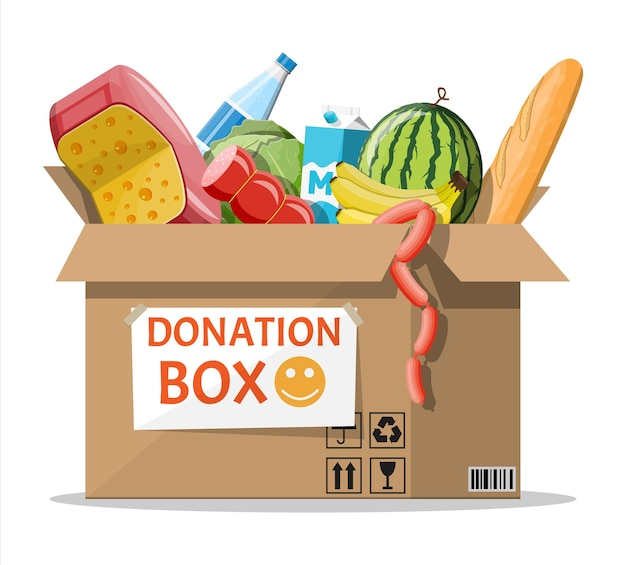 Cardboard box full of food. needed items for donation. water, bread, meat, milk, fruits and vegetables products. food drive bank, charity, thanksgiving concept. vector illustration flat style