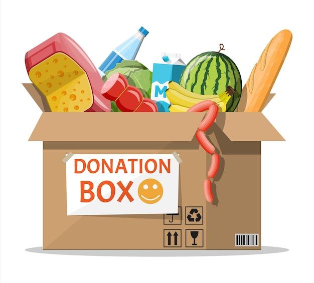 食べ物でいっぱいの段ボール箱。寄付に必要なもの。水、パン、肉、牛乳、果物、野菜製品。フードドライブバンク、チャリティー、感謝祭のコンセプト。ベクトルイラストフラットスタイル