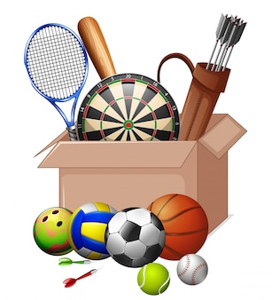 Cardboard box full of sport equipments isolated