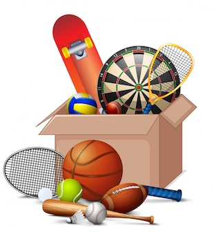 Cardboard box full of sport equipments on white background
