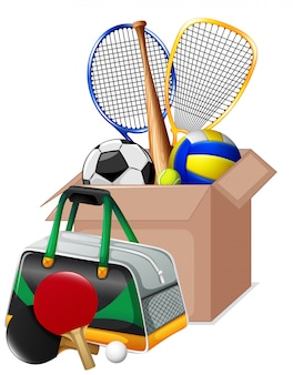 Cardboard box full of sport equipments on white