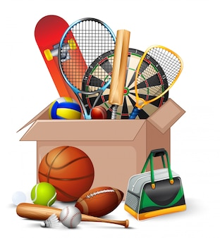 Cardboard box full of sport equipments on white