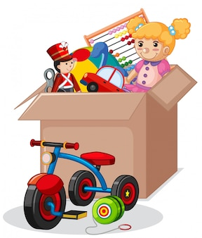 Cardboard box full of toys isolated