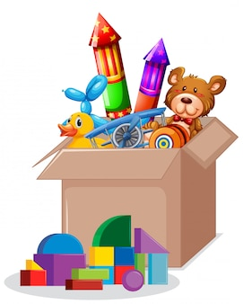 Cardboard box full of toys on white