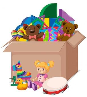 Cardboard box full of toys on white