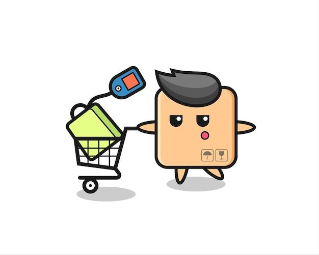 Cardboard box illustration cartoon with a shopping cart , cute style design for t shirt, sticker, logo element